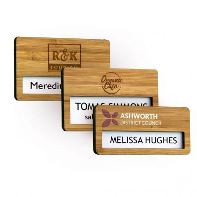 Image of Bamboo Faced Reusable Name Window Badges